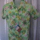 Columbia Midway Run Women's Green/Pink Hawaiian Button Down Shirt Sz S NWWT