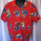 Authentic Big Dog Red Button Down Hawaiian Shirt Sz XL 100% Rayon Pre-Owned
