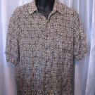 Robert Stock Men's 100% Silk Olive Green/Cream Button Down Shirt Sz L Pre-Owned