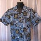 Hawaiian Kine Men's Blue Hawaiian Button Down Shirt Sz M Pre-Owned 100% Cotton
