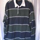 Dockers Men's Cotton Green/Blue/White Striped Collared Long Sleeve Shirt Sz L