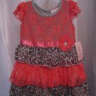 Little Lass Toddler Girl's Animal Print & Lace Short Sleeve Dress Sz 2T NWWT