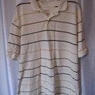 Merona Men's Cream/Tan/Brown Striped Collared Short Sleeve Shirt Sz XL Pre-Owned