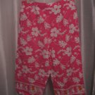 White Stag Pink & White Hawaiian Print Capri/Cropped Pants SZ L 12-14 Pre-Owned