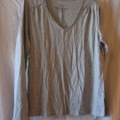 Faded Glory Junior Size Grey Long Sleeve V Neck Shirt Sz XL (16-18) Pre-Owned
