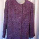 Alfred Dunner Women's Blue & Purple Button Down Blazer Jacket Sz 14 Pre-Owned