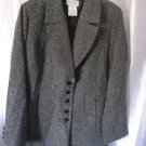 Jaclyn Smith Classic Women's Black/Grey Button Front Blazer Jacket Sz 12 Pre-Own