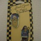 Alma Lynne Blue Country Santa 1 Santa Face & 1 Full Santa 2 Ceramic Buttons NWWT