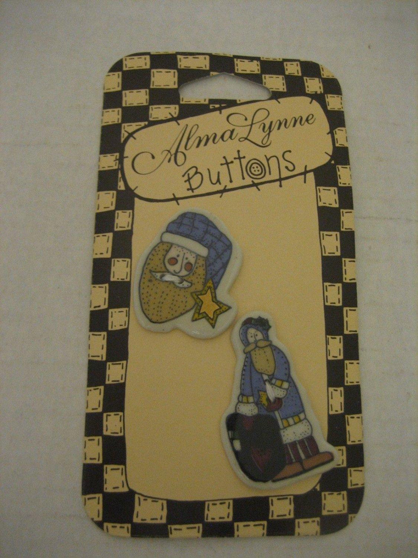 Alma Lynne Buttons Country Santa 1 Santa Face/Full Santa 2 Ceramic Buttons NWWT