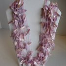 Vintage Women's Lavender Sea Shell & Beads Multi-Strand Necklace 14.5L Pre-Owned