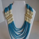 Vintage Women's Blue/Cream Bone & Beads Multi-Strand Necklace Pre-Owned