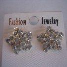 Women's Fashion Jewelry Star Faux Gold & Clear Rhinestone Pierced Earrings NW