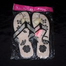 LA Beauty Black Flower Flip Flops- Size 9 & 10