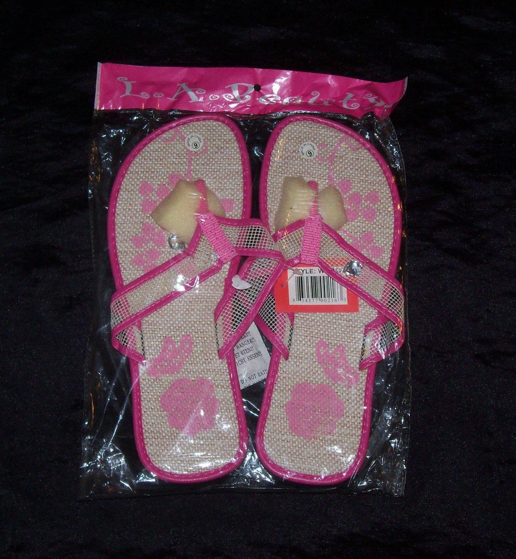 LA Beauty Pink Flower Flip Flops- Size 9