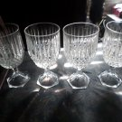Set of 4 heavy Lead Crystal cut Wine Glasses clear like new condition