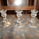 3 Lead Crystal Pillar Candlesticks Clear Glass 4 in. ex.cond. Elegant