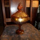 Amber Gold Banded Diamond Point Glass Candy Dish/Compote w/Lid