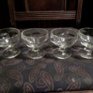 Set of 4 Vintage Federal glass stemmed Ice Cream Sherbet bowl dish.