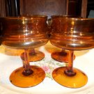 4 Amber Wine/Champagne  stemmed glasses in very good condition, no visible defects.