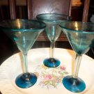 3 Martini Margarita blown stemmed glasses,