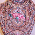 1623-1 PAVLOVO POSAD SHAWL 100%WOOL DRESS WRAP HAT RUSSIAN SCARF WARM CAPE 89cm