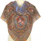 1623-2 PAVLOVO POSAD SHAWL 100%WOOL DRESS WRAP HAT RUSSIAN SCARF WARM CAPE 89cm