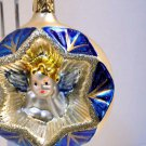 ANGEL in a STAR INGE GLAS  CHRISTMAS TREE LARGE ORNAMENT GERMAN NOS RETIRED 2000