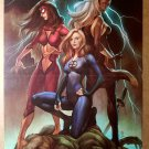Women of Marvel Storm Invisible Woman Spider Woman Girl Comics Poster by Jo Chen