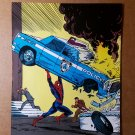 Amazing Spider-Man throws police car Marvel Comics Mini Poster by Todd McFarlane