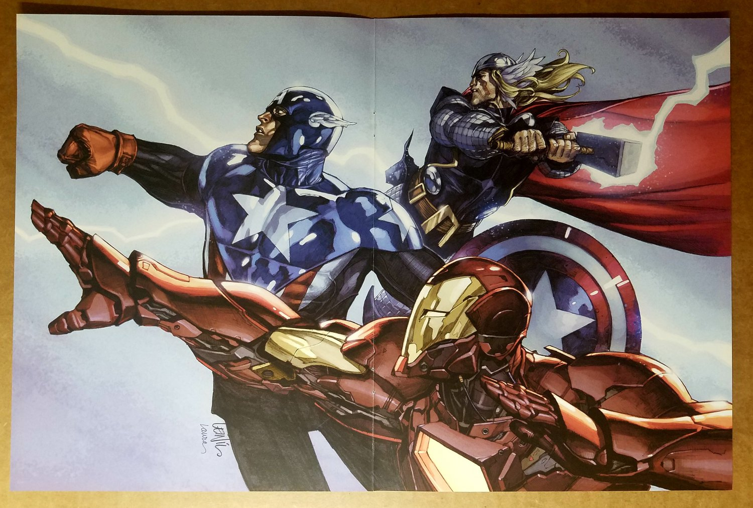 Avengers Thor Captain America Iron Man Marvel Comics Poster by Leinil Yu