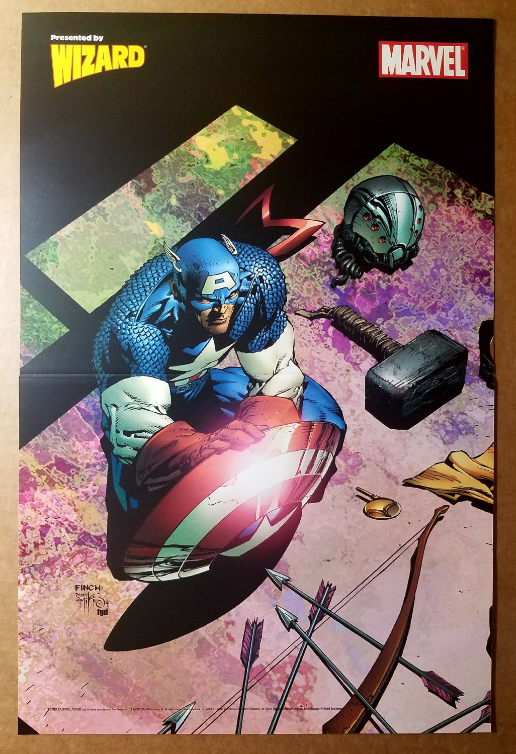 Captain America Thors Hammer Marvel Comic Poster by David Finch