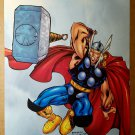 Thor throwing Hammer Marvel Comics Poster by Carlo Barberi