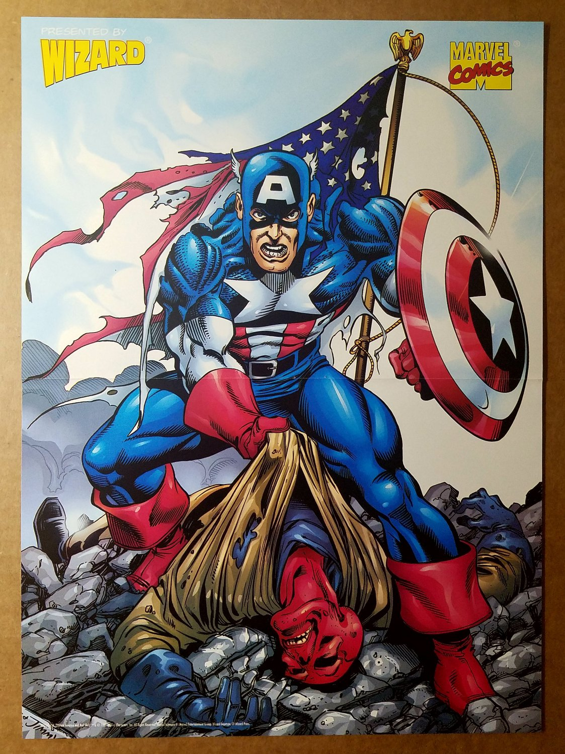 Captain America American Flag Marvel Comics Poster by George Perez