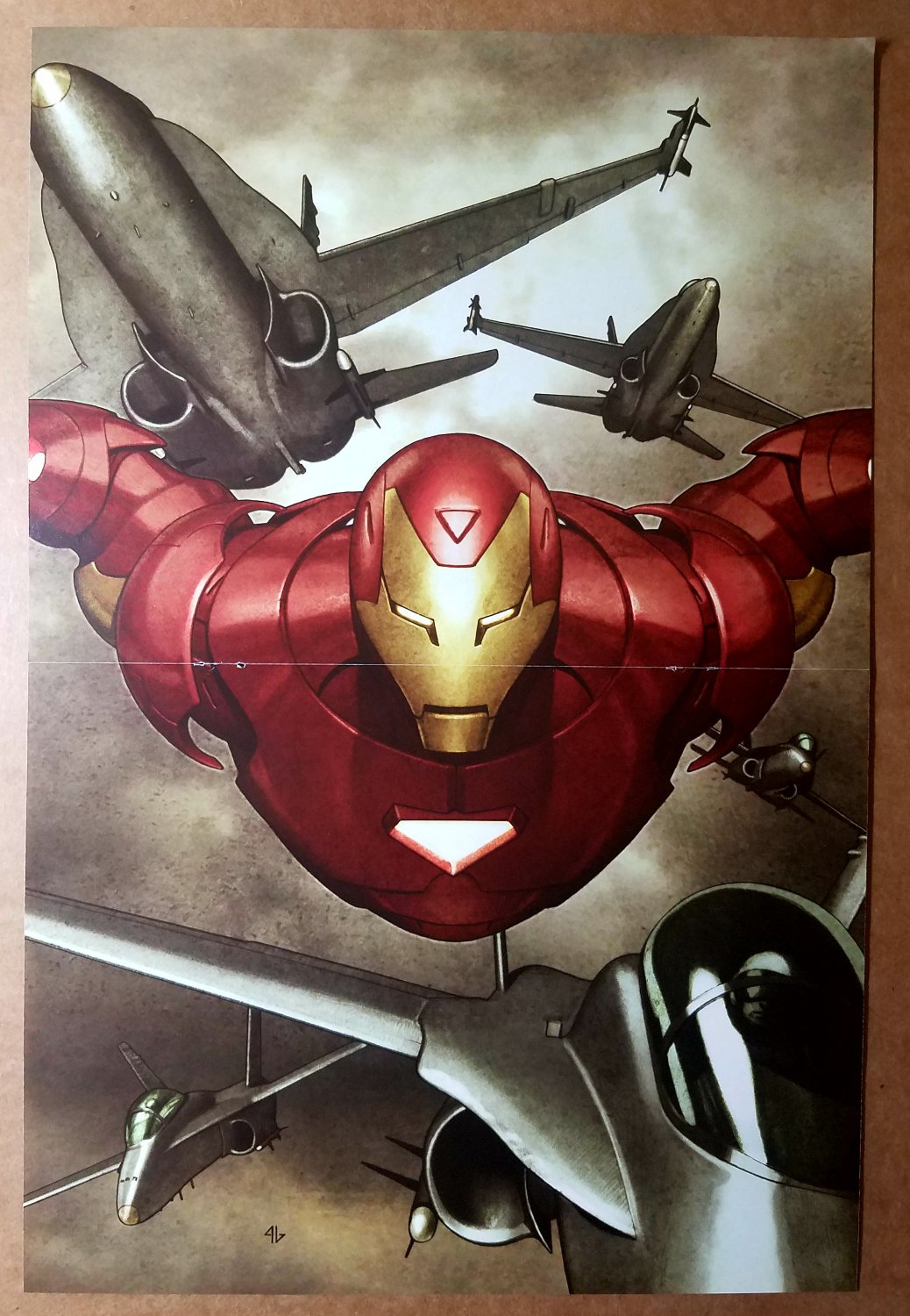 Iron Man flying with Jets Marvel Comic Poster by Adi Granov