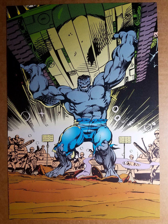 Incredible Hulk picks up tank Marvel Comics Poster by Dale Keown