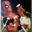 Deadpool Picking Daisies Marvel Comics Poster by Juan Doe