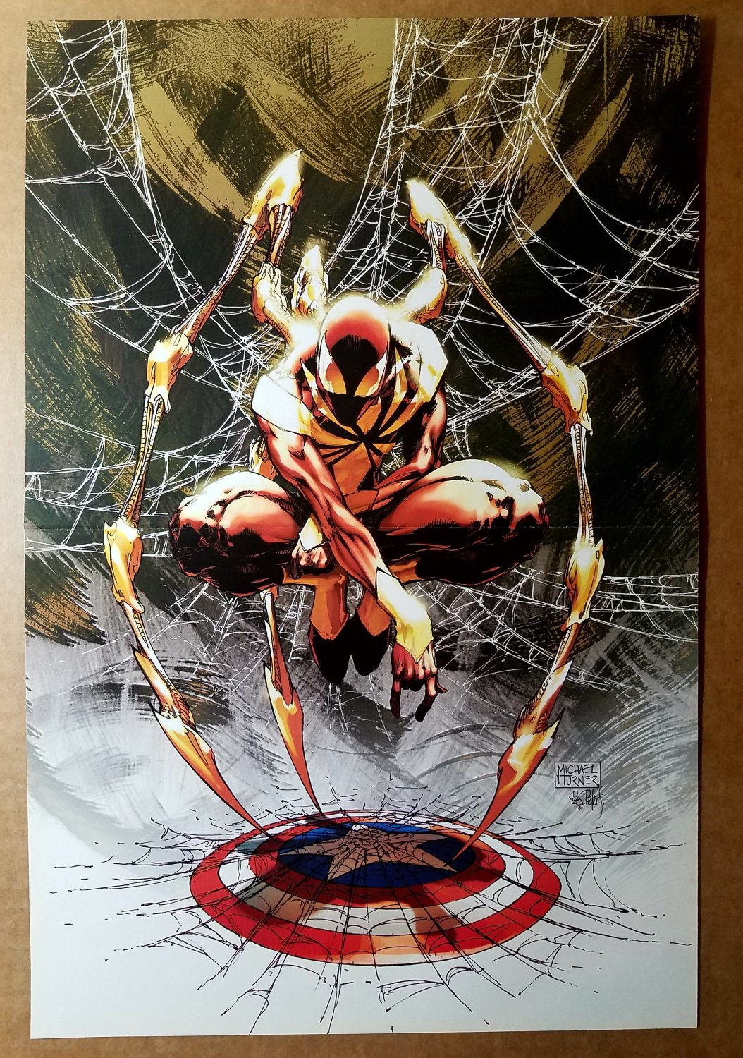 Civil War Spider-Man Captain America Marvel Comics Poster by Michael Turner