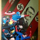Captain America Bucky fight Nazis Marvel Comics Poster by Marcos Martin