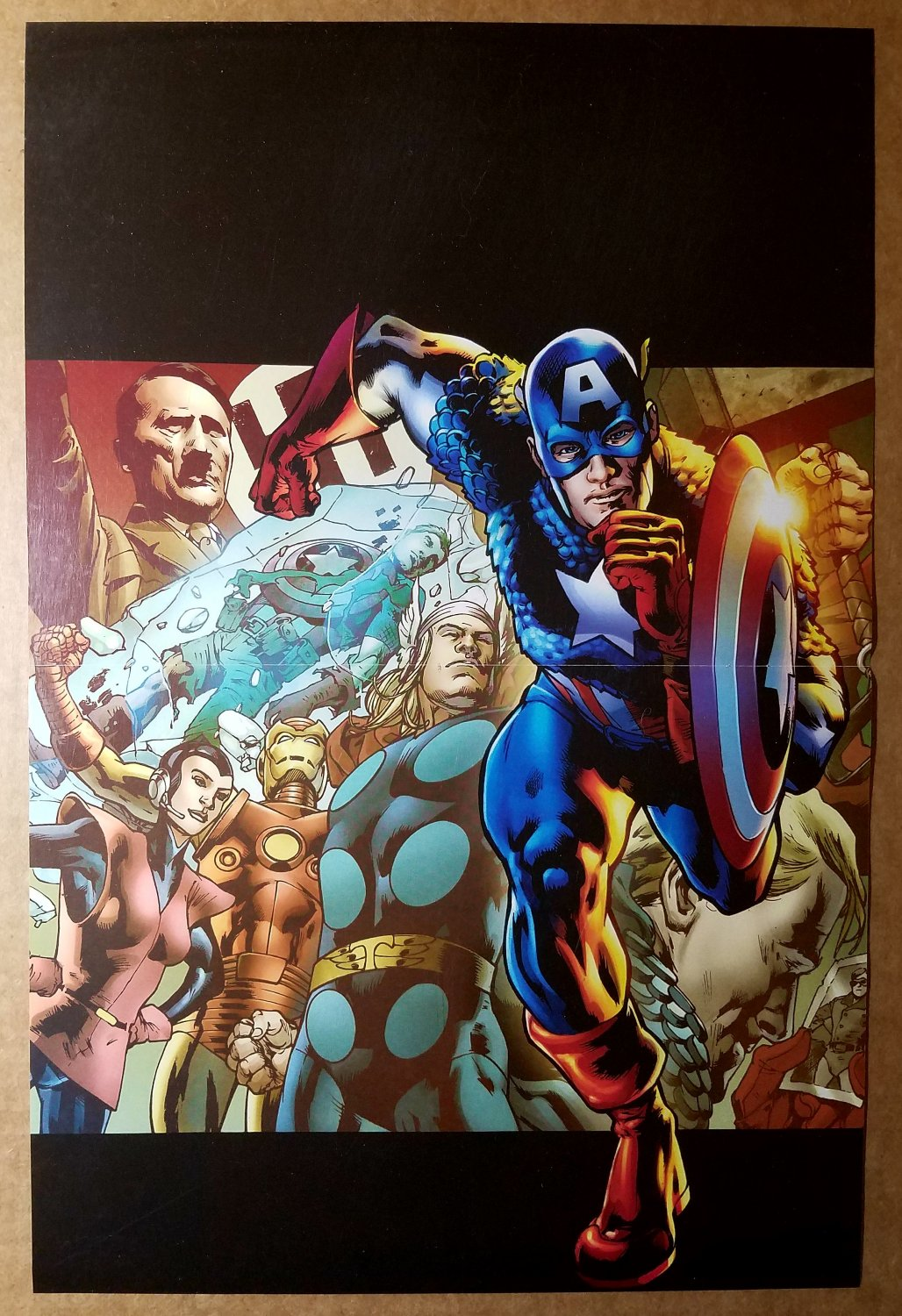 Captain America Thor Iron Man Avengers fight Hitler Marvel Comics Poster by Bryan Hitch