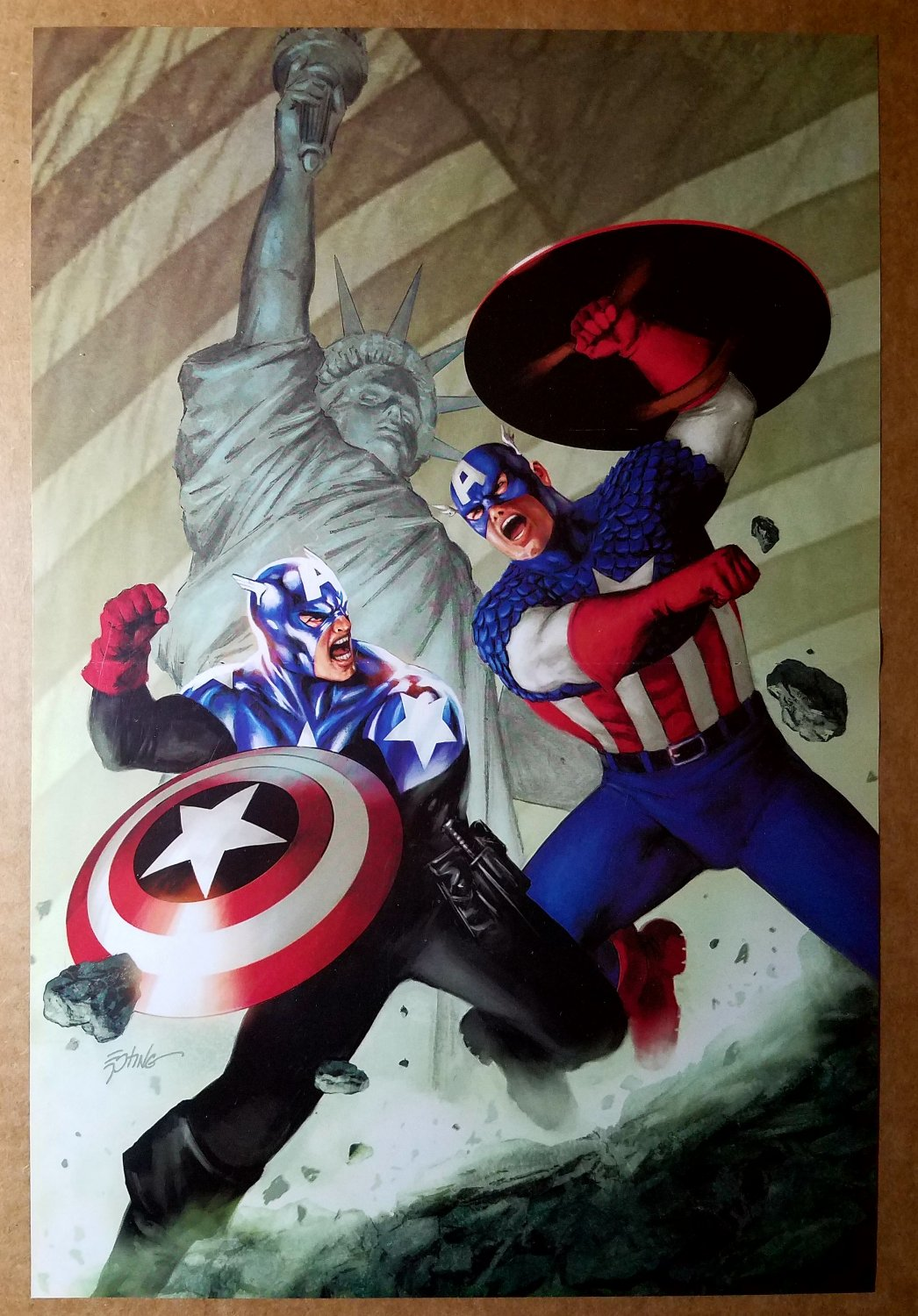 Captain America Bucky Statue of Liberty Flag Marvel Comic Poster by Steve Epting