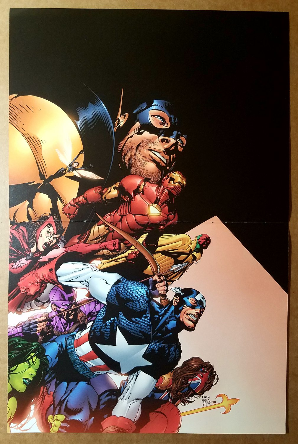 Avengers Captain America Hawkeye Iron Man Vision Marvel Poster by David Finch