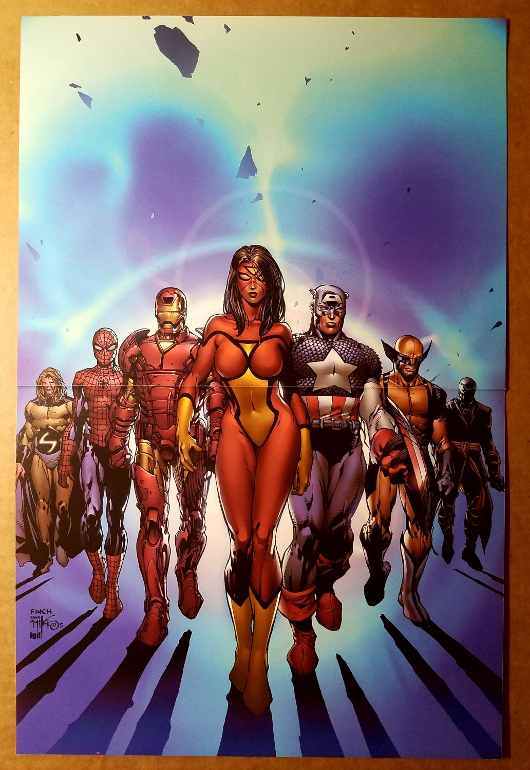 Avengers Spider Woman Iron Man Captain America Marvel Poster by David Finch