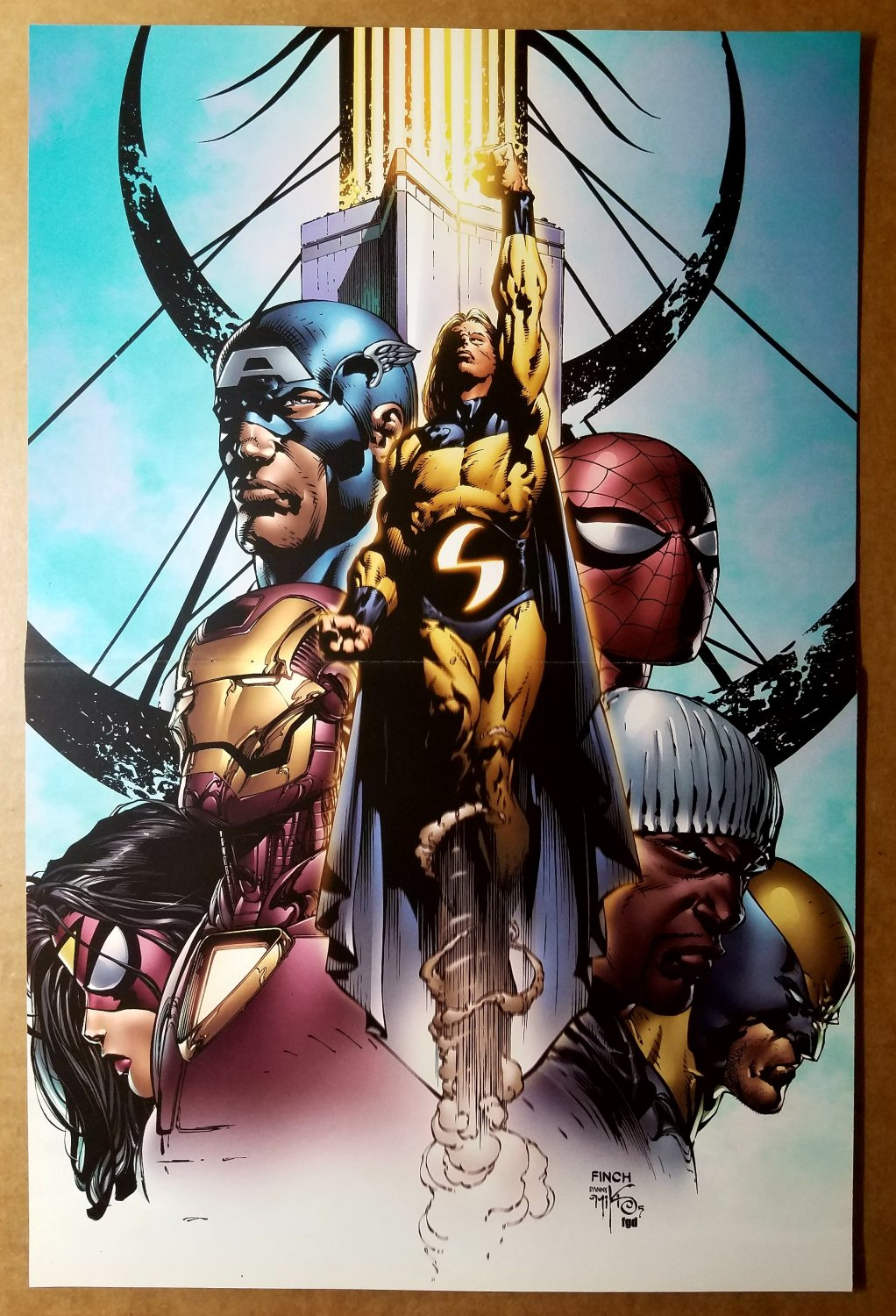 Avengers The Sentry Spider Woman Captain America Marvel Poster by David Finch