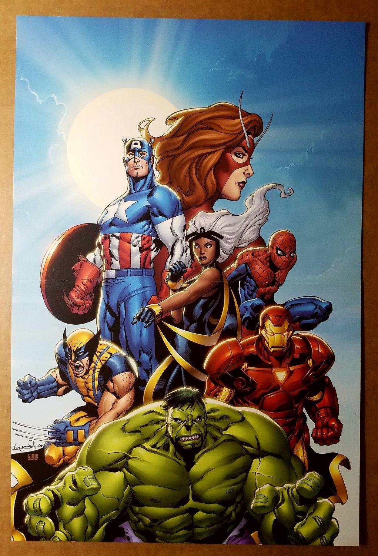 Hulk Wolverine Iron Man Storm Captain America Marvel Poster by Aaron Lopresti