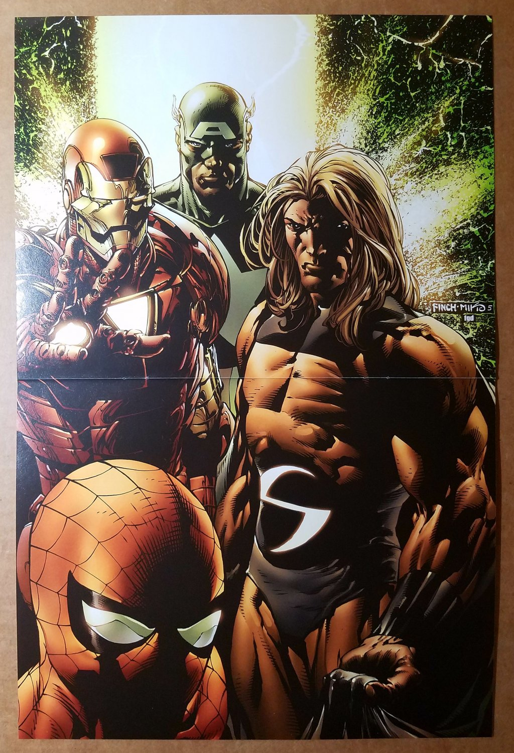 Spider-Man Iron Man The Sentry Captain America Marvel Poster by David Finch