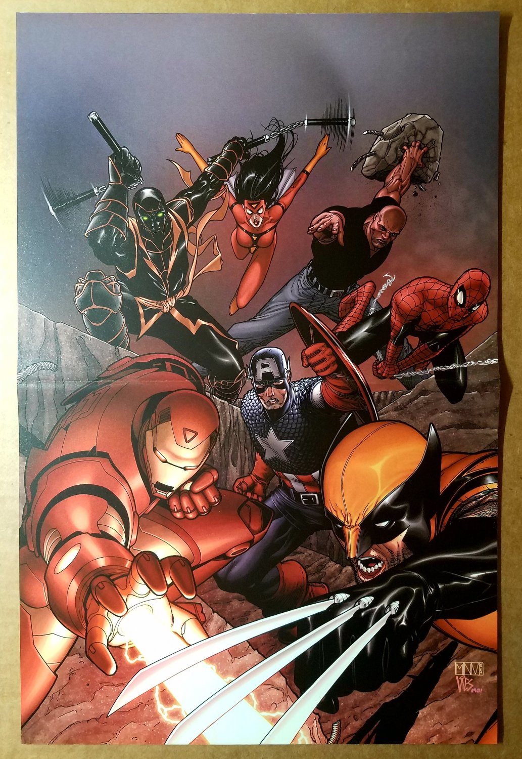 New Avengers Spiderman Iron Man Wolverine Marvel Comics Poster by Steve McNiven