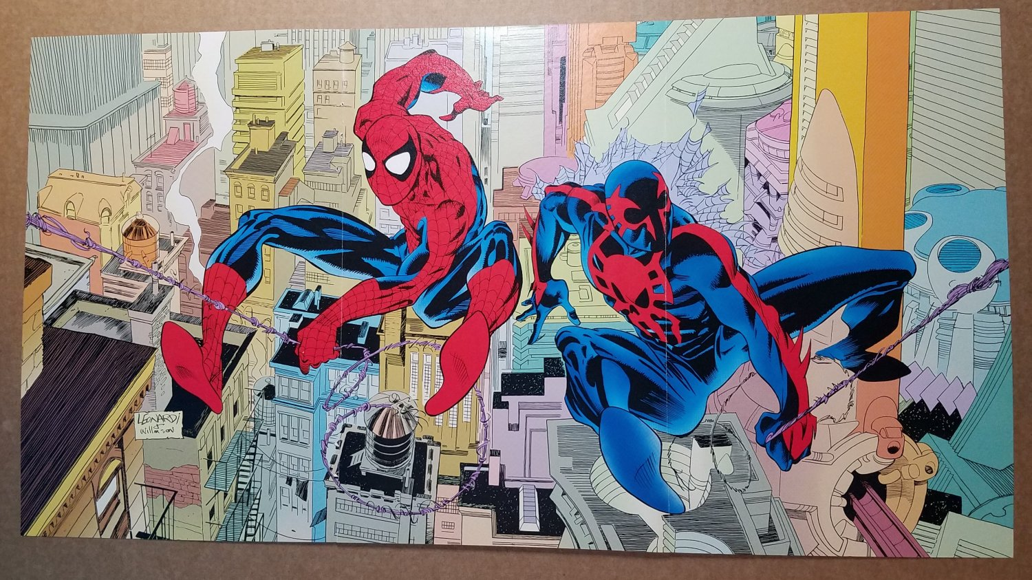 Spider-Man and Spiderman 2099 Marvel Poster by Rick Leonardi and Al Williamson
