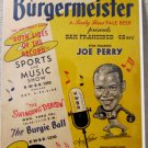Burgermeister Beer Joe Perry Football Hall of Famer advertising sign 1950's