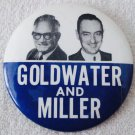 "Barry Goldwater & William Miller 3"" photo political pin 1964 near mint condition"