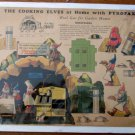 Scarce The Cooking Elves at Home with Pyrofax Gas unpunched sheet 1920's